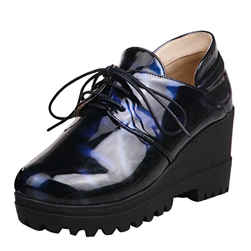 Show Shine Womens Platform Chunky Heel Lacing Up Oxfords Shoes Blue