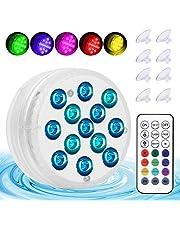 Zatapialne światła LED z 13 diodami LED, światła do stawu w 16 kolorach, wodoodporne oświetlenie basenowe z pilotem zdalnego sterowania RF do jacuzzi, do kąpieli spa, basenu, akwarium ozdoby akwarium (4 sztuki)