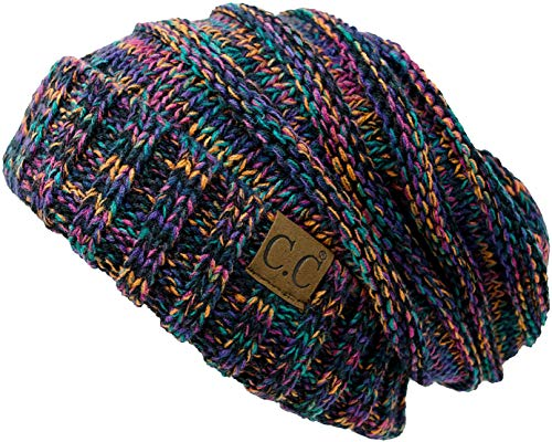 H-6100-620608 Oversized Slouchy Beanie - Black Kaleidoscope - Long Beanie Cap