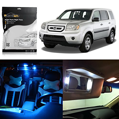 (Partsam Interior LED Package Kit + License Plate Lights Replacement for Honda Pilot 2009-2015 Ice Blue (17 Pieces))