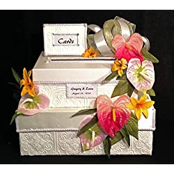 Wedding Card Box, Sweet 16, Quinceanera, Handmade, two tiers, multi colored tropical flowers, white