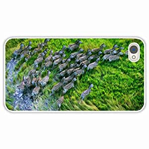 Customized Apple iPhone 4 4S Hard PC Case Diy Personalized DesignCover zebra grass White