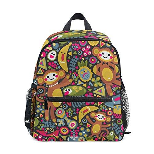 Age 3-8 Cute Cartoon Monkey Pattern Print Toddler Preschool Backpack, Children Kids Travel Lunch Bags for Boy Girl]()