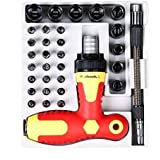 33 PCS T-Handle Screwdrivers Set, Insulated Ratcheting Screwdriver Set with Magnetic Tips and Sockets Driver Nuts Kit by YZMY TOOL