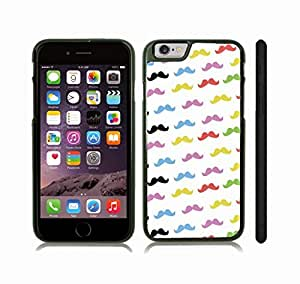iStar Cases? iPhone 6 Plus Case with Colorful Mustaches Background Design , Snap-on Cover, Hard Carrying Case (Black)