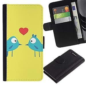 KingStore / Leather Etui en cuir / Sony Xperia Z3 Compact / Los pájaros del amor del beso de los amantes del corazón azul Arte de la historieta