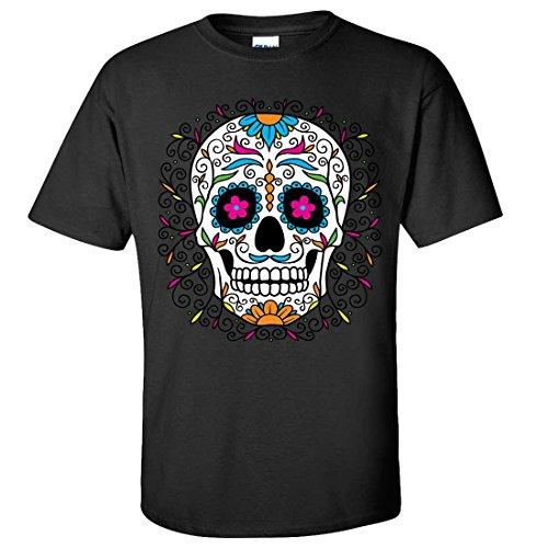 Dia De Los Muertos Pastel Sugar Skull T-shirt/tee - Black (10 Facts About Halloween History)
