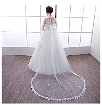 AliceHouse Long Wedding Cathedral Veils Beaded Lace Cape