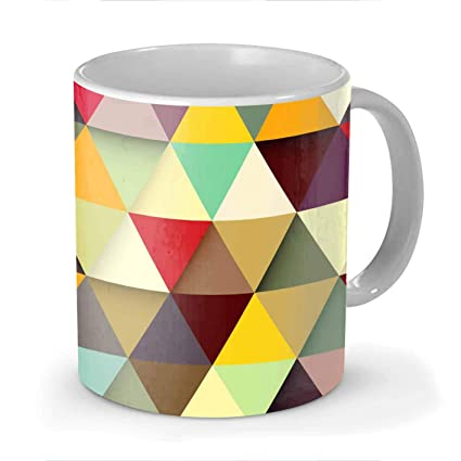Buy Stylite Colorful Triangle Pattern White Ceramic Printed Coffee Mug 330ml Online At Low Prices In India Amazon In