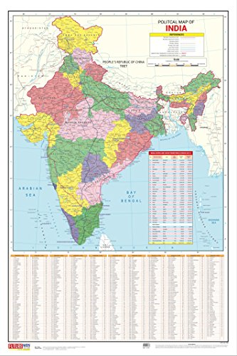 India Map- Political (50.8cm X 76.2cm)