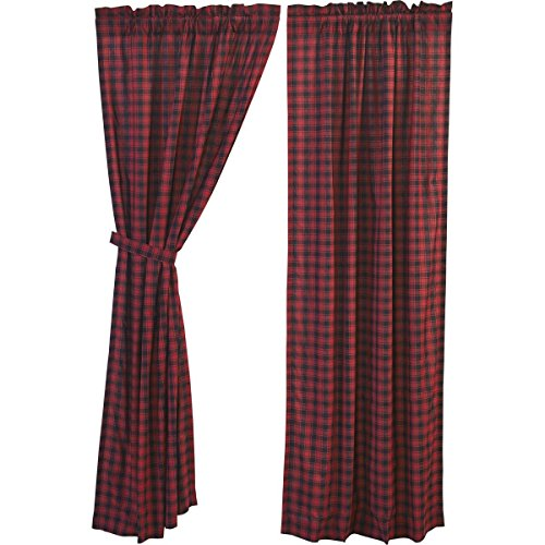 VHC Brands Rustic & Lodge Window Cumberland Red Curtain Panel Pair, Chili - Treatments Cabin Window
