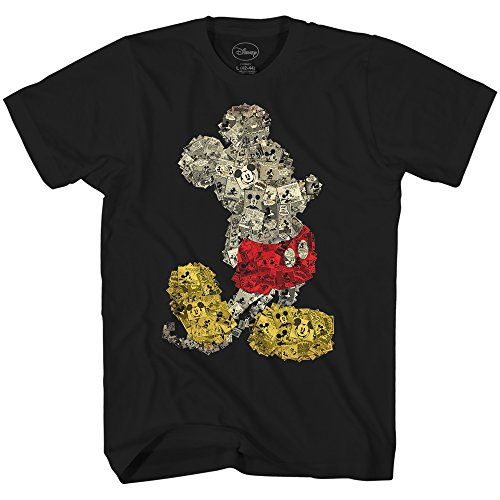 Disney Mickey Mouse Collage Disneyland World Tee Funny Humor Adult Mens Graphic T-Shirt Apparel (X-Large, Black) for $<!--$15.99-->