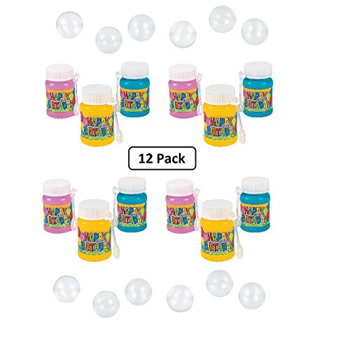 Kicko Mini Happy Birthday Bubbles 2 Inches - Pack of 12 Assorted Colors Bottles - 1 Ounce with Wand - for Kids - Great for Birthdays, Party Favors, Bag Stuffers, Fun, Toy, Gift, Prize ()