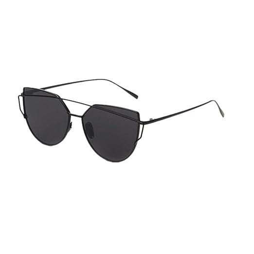 af5da6432fcc Amazon.com  Sumen Women Metal Frame Mirror Sunglasses Cat Eye Glasses  (Black)  Clothing