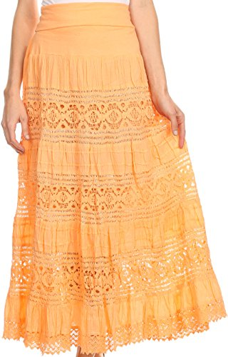 Sakkas 1238 - Gracie Crochet Lace Tiered Long Cotton Skirt with Fold-Over Waistband - brightorange - L