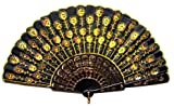 gold hand fan - Beautiful Lady's Silk Hand Fan with Golden Sequins by Estone