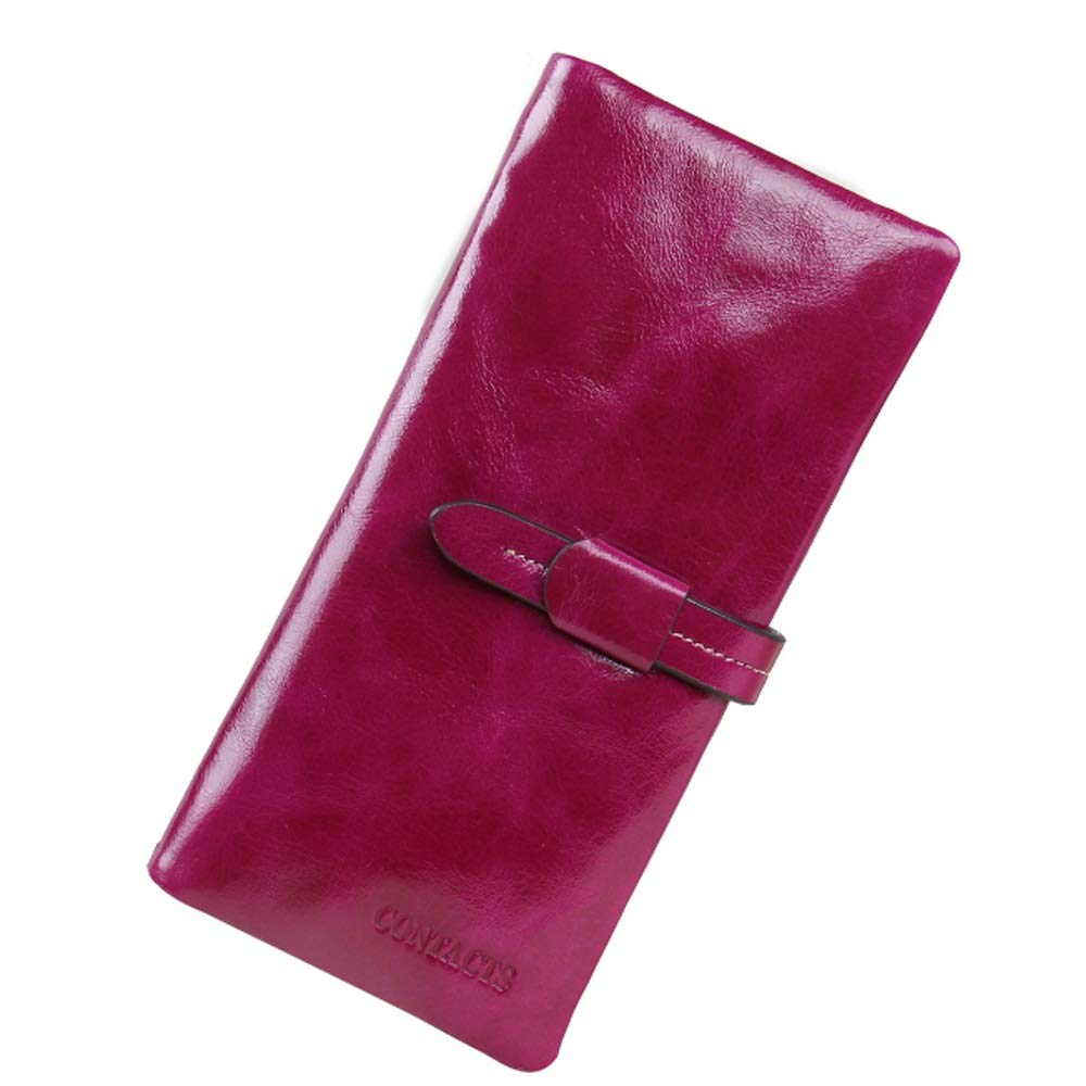 Elegdy Womens Wallet Leather Long Oil Wax Leather Wallet Casual Large Capacity Clutch Long Bag Fashion Color : Red, Size : S