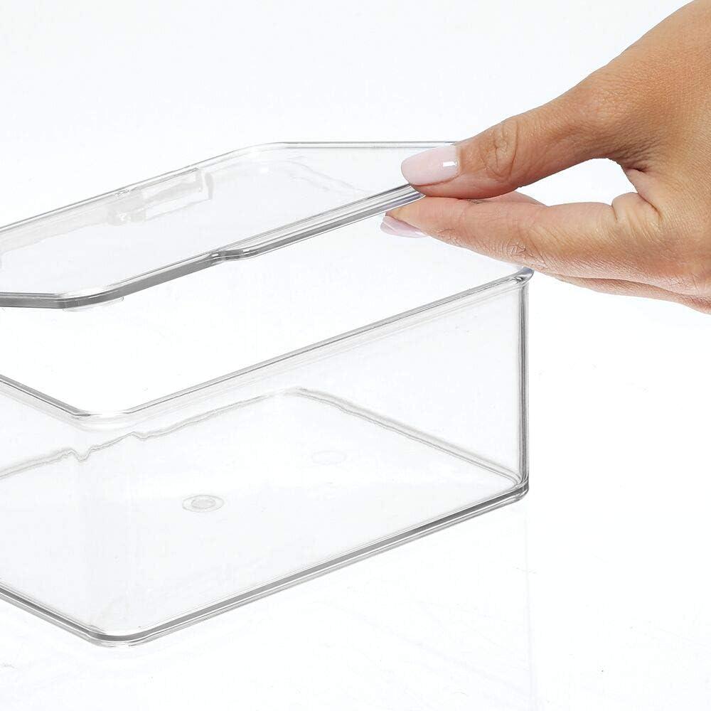 medicamentos y toallas mDesign Caja con tapa para ba/ño Organizador transparente para guardar todo tipo de productos Pr/ácticas cajas apilables para productos de belleza transparente