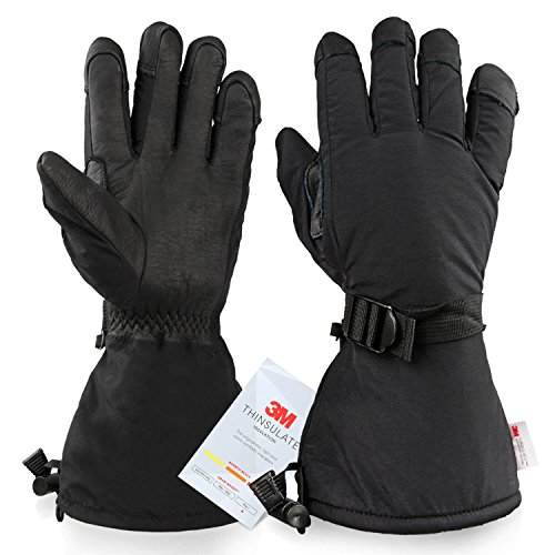 OZERO Cold Weather Gloves Gloves, -40°F Cold Proof Ski Glove - 150g 3M Thinsulate Insulated Cotton & 5-inch Long Sleeve - Waterproof Nylon & Cowhide Leather Palm & Good Grip for Men & Women - (Snowmobile Fleece)