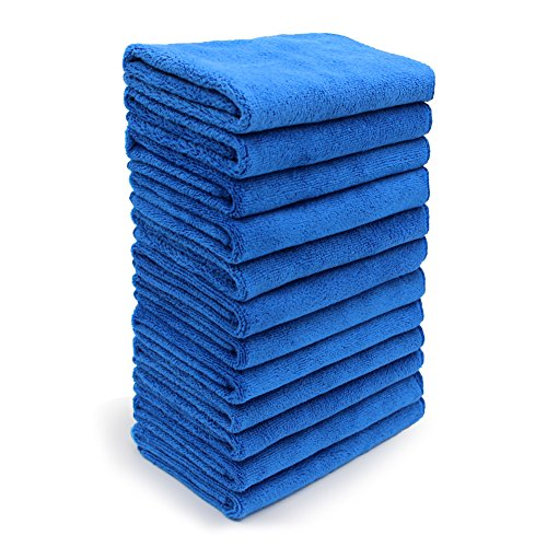 SURPRISE PIE Thick Cleaning Cloths Soft Blue Pack of 12 Detailing Towels Dryer Rags House Plans Cleaner Micro Dust Cloth for Dusting Furniture Washing Window Dish Packs High Absorbent Streak Free
