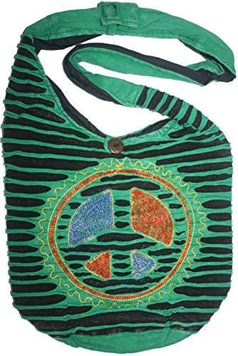 SJ 02 Circular Peace Bohemian Gypsy Bag (Green Black) by Agan Traders
