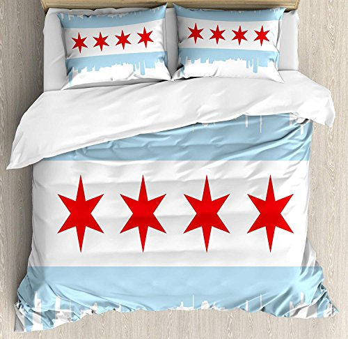 - Chicago Skyline Twin Bedding Duvet Cover Set, 4 Piece Hotel Quality Luxury Soft Brushed Microfiber, City of Chicago Flag with High Rise Buildings Scenery National