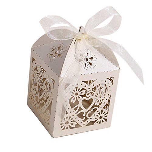 KEIVA 70 Pack Love Heart Laser Cut Wedding Party Favor Box Candy Bag Chocolate Gift Boxes Bridal Birthday Shower Bomboniere with Ribbons (Beige)