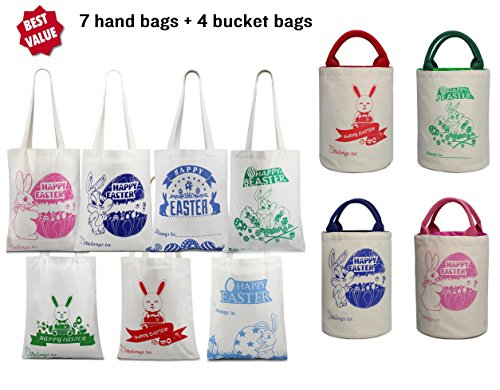 [HUGE SAVING LIMITED LEFT] 11 Pack Easter Bag/Bucket Bunny Canvas Bag With Bunny Easter Egg Hunt Design Bag Carrying Eggs/Gifts for Easter Party,Bunny Cute Tote,Load Up To 65 Lb (Easter bag-11Pack)
