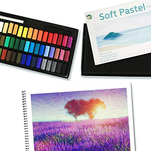 HASHI Non Toxic Soft Pastels for Professional - Square Chalk pastel Assorted Colors (48 Colors)