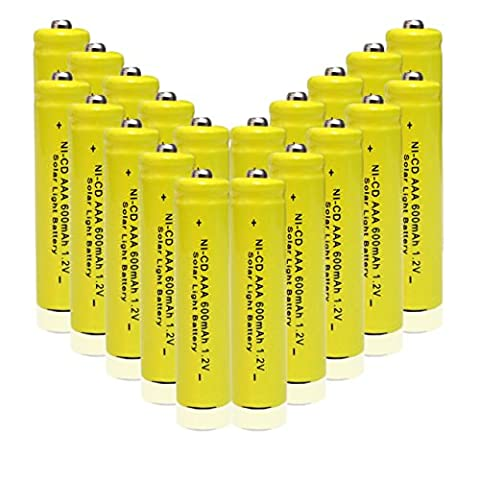 GEILIENERGY 1.2v AAA NiCd 600mAh Triple A Rechargeable Battery for Solar light Lamp Yellow Color ( Pack of 20pcs AAA NI-CD - Rechargeable Aaa Nicd Battery