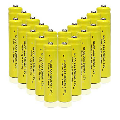 GEILIENERGY 1.2v AAA NiCd 600mAh Triple A Rechargeable Battery for Solar light Lamp Yellow Color ( Pack of 20pcs AAA NI-CD Batteries)