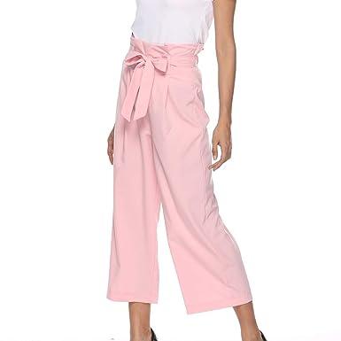 Sylar Pantalones Para Mujer Elegantes Cintura Alta Color Sólido ...