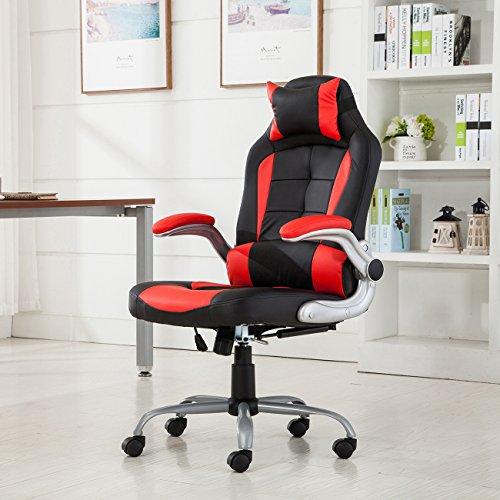 Cheap Belleze High-Back Ergonomic Office Chair Recline Racing Style Computer Desk Lumbar Support (Red and Black)