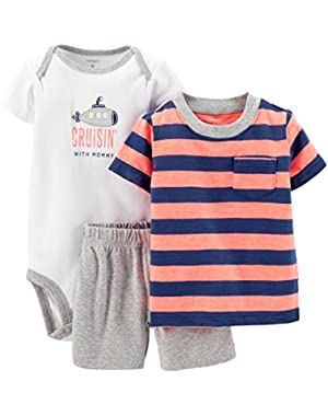 Baby Boys' 3 Piece Striped Layette Set (Baby) - Blue/Red - 12 Months