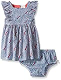 Rosie Pope Little Girls Printed Poplin Dress With Matching Diaper Cover and Crown Headband, Strong Blue, 24 Months