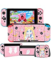 DLseego Switch Skin Sticker Pretty Pattern Full Wrap Skin Protective Film Sticker Compatible with Nintendo Switch-Pink