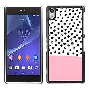 Be Good Phone Accessory // Dura Cáscara cubierta Protectora Caso Carcasa Funda de Protección para Sony Xperia Z2 D6502 D6503 D6543 L50t L50u // Pink Pattern Hand Drawn