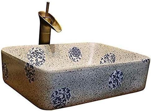 バスルーム長方形洗面レトロセラミックホテルアンチスプラッシュ洗面浴室のシンクの蛇口1セット