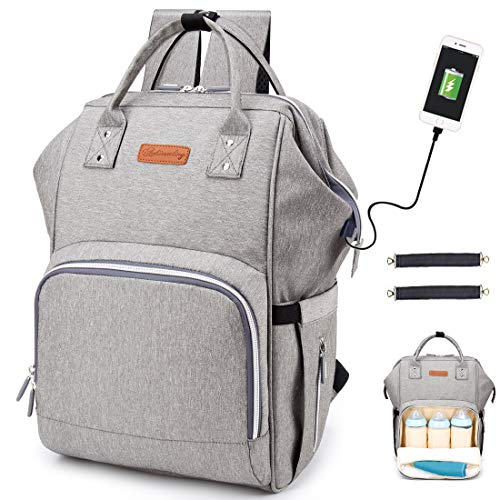 d2b16e698921 Diaper Bag Backpack, hopopower Multifunction Travel BackPack with USB  Charging Port Insulated Pockets Maternity Baby Nappy Bag School Work  Everyday ...