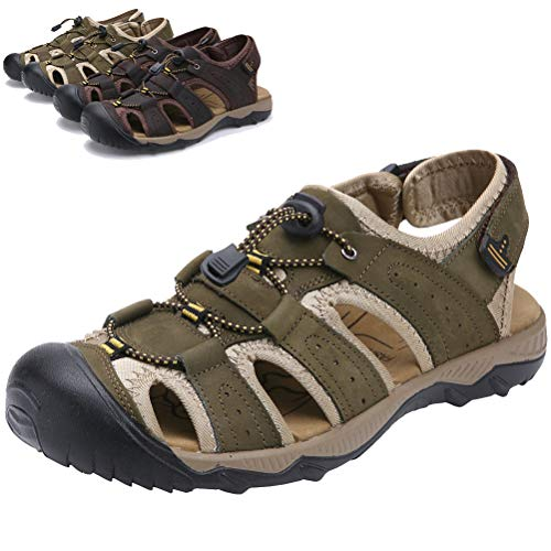 DADAWEN Men's Summer Leather Closed-Toe Adjustable Straps Outdoor Athletic Sandals Khaki US Size 9.5 ()