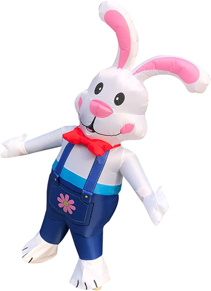 Inflatable Costume Blow up Rabbit Bunny Fancy Dress Event Costume Jumpsuit Cosplay Outfit Gift,Adult White