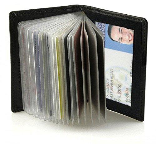 Black Business Credit ID Card Black Real Leather Wallet Holder Men Women Sleeves