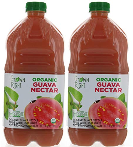 2 Pack, Organic Guava Nectar Juice 64 FL Each, Made with Fruit Puree, by Grown Right