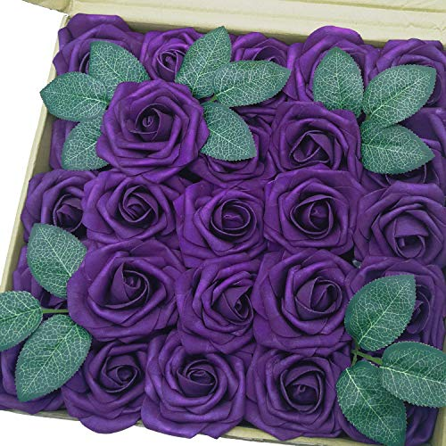 J-Rijzen Jing-Rise Artificial Flowers 50pcs Real Looking Dark Purple Fake Roses with Stem for Wedding Bouquet Bridal Shower Birthday Party Home Decorations (Purple) (Purple Flowers Fake)