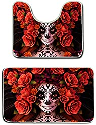 us tang sugar skulls and roses day of dead halloween bath mat bathroom carpet rug washable