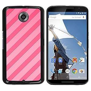 Caramelo Líneas rosadas paralelo Patrón Fucsia- Metal de aluminio y de plástico duro Caja del teléfono - Negro - NEXUS 6 / X / Moto X Pro