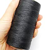 Kyпить 284yrd black Leather Sewing Waxed Thread 150D 1mm Leather Hand Stitching 125g на Amazon.com