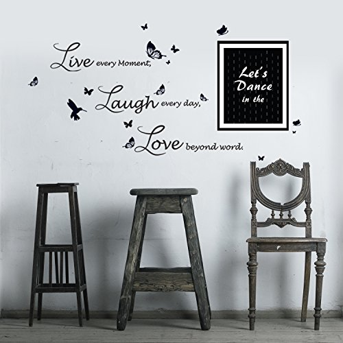 Removable Self-Adhesive Wall Stickers 'Frame Dance in the Rain Quote Lucida Live Laugh Love' Home Decoration DIY Living Bedroom Décor 120x70 cm, Black/White