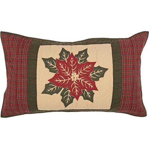 VHC Brands Seasonal Bedding National Quilt Museum Poinsettia Block Tan Sham, King,