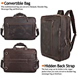 TIDING Convertible Leather Briefcase Backpack 17